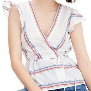J CREW   Flutter-sleeve wrap top in striped 0374